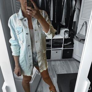Jackets & Blazers - 🆕 Light Wash Destroyed Denim Longline Jacket